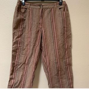 Hannah brown orange stripe stretch ankle pants